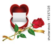white card in red velvet box...   Shutterstock .eps vector #97157135