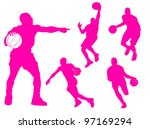 basketball players silhouette... | Shutterstock . vector #97169294