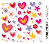 hearts flowers stars seamless background - stock photo