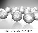 bunch of golf balls with... | Shutterstock . vector #9718021