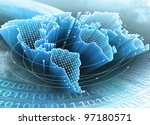 world map interconnected by... | Shutterstock . vector #97180571