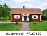 Red Cottage. Typical Swedish...