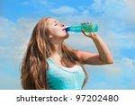 beautiful girl drinking water... | Shutterstock . vector #97202480