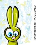 Funny green rabbit - stock vector