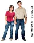 happy couple holding hands  ... | Shutterstock . vector #9720733