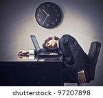 tired businessman sleeping on a ... | Shutterstock . vector #97207898