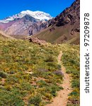 Small photo of Hiking trail with Aconcagua in the background, Argentina, South America