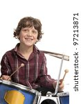 young boy playing drums on white background - stock photo