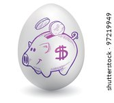 Doodle style piggy bank sketch on decorated holiday Easter Egg in vector format - stock vector