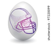 Doodle style football helmet sketch on decorated holiday Easter Egg in vector format - stock vector