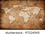grunge world map background | Shutterstock . vector #97224545