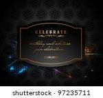 vector blue gold framed labels...   Shutterstock .eps vector #97235711