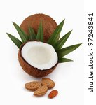 Coconut with almonds on a white background - stock photo