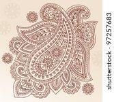 henna paisley mehndi doodles... | Shutterstock .eps vector #97257683