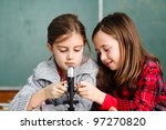 two schoolgirls have a practice ... | Shutterstock . vector #97270820