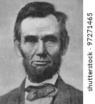 Small photo of RUSSIA - CIRCA 2008: Illustration from the textbook Modern History, published in the Russia shows Portrait of U.S. President Abraham Lincoln (1809-1865), circa 2008
