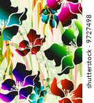tropical exotic florals with... | Shutterstock . vector #9727498