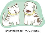 Stock vector cat and dog sitting together 97279058
