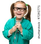 Cute little girl is playing doctor, isolated over white - stock photo