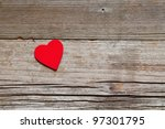 One Red Heart On Rustic Wood...
