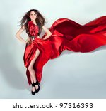 girl with flowing hair in the... | Shutterstock . vector #97316393