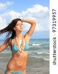 beautiful bikini model posing... | Shutterstock . vector #97319957