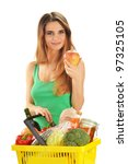 Young caucasian woman with shopping basket isolated on white - stock photo