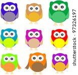 set of owls isolated on white.... | Shutterstock .eps vector #97326197