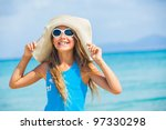 cute teens girl in big hat... | Shutterstock . vector #97330298