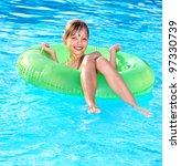 little girl sitting on... | Shutterstock . vector #97330739