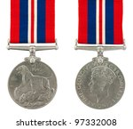 1939-1945 Second World War Medal General Service Medal with the inscription GEORGIVS VI D G BR OMN REX ET INDIAE IMP - stock photo