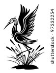 Heron Bird In Silhouette Style...