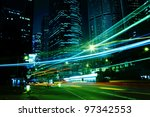 moving car with blur light... | Shutterstock . vector #97342553