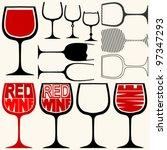 wine glasses silhouettes | Shutterstock .eps vector #97347293