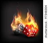 vector burning dice on dark... | Shutterstock .eps vector #97348304