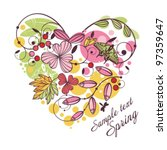 spring floral heart card. | Shutterstock .eps vector #97359647