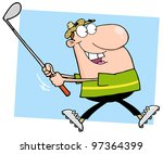 happy male golfer running. jpeg ... | Shutterstock .eps vector #97364399