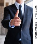 business man pointing with a... | Shutterstock . vector #97417625