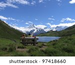 swiss beauty  bench view to... | Shutterstock . vector #97418660