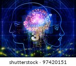 Composition of human head outlines, lights, numbers and abstract design  elements as a concept metaphor for modern technology, digital revolution, scientific thinking and technology related issues - stock photo