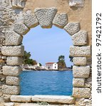 Traditional Greek chapel of Parga, Greece - stock photo