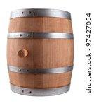 Oak Barrel Isolated On White...