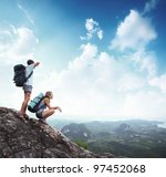young tourists with backpacks... | Shutterstock . vector #97452068