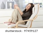 woman relaxing with closed eyes ... | Shutterstock . vector #97459127