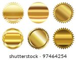set of golden seal | Shutterstock . vector #97464254