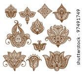 ornamental flowers. vector set... | Shutterstock .eps vector #97491749