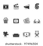 single color icons   movies | Shutterstock .eps vector #97496504