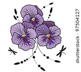 vector illustration of flowers of  violet pansies and dragonflies (EPS 10 ) - stock vector