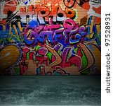 graffiti wall background  urban ... | Shutterstock .eps vector #97528931
