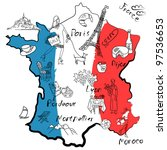 stylized map of france. things... | Shutterstock .eps vector #97536653